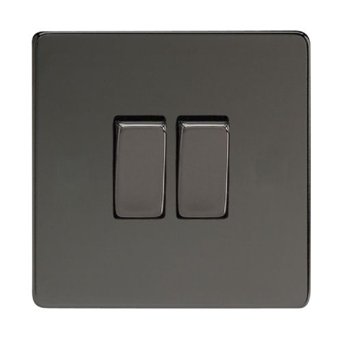 Varilight XDI71S Screwless Iridium Black 2 Gang 10A Rocker Light Switch (1 x Intermediate 1 x 2W)